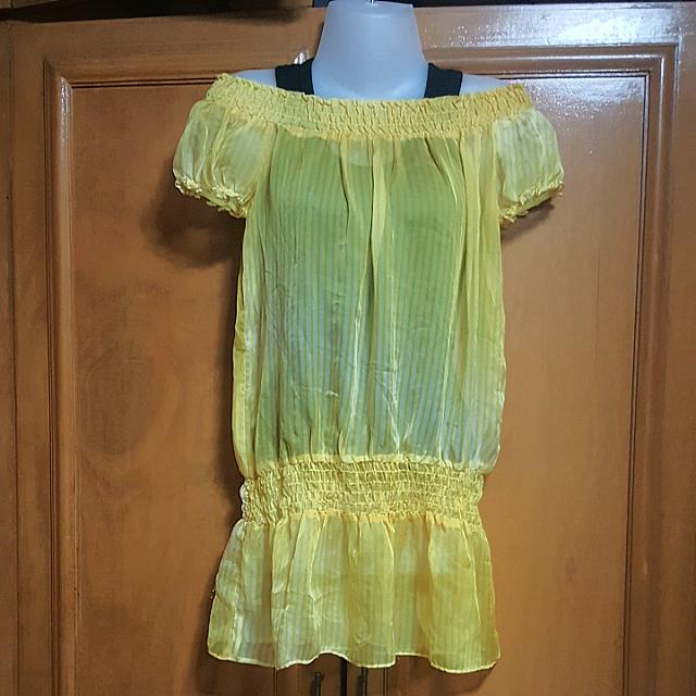 Yellow Sheer Top with Black Inner