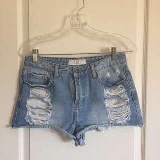 CALI Ripped Jean Shorts