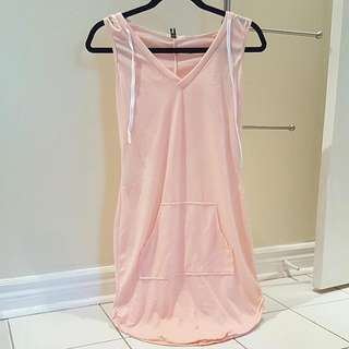 Pink Sleeveless Long Hoodie
