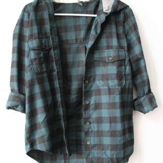 Forever XXI Hooded Flannel