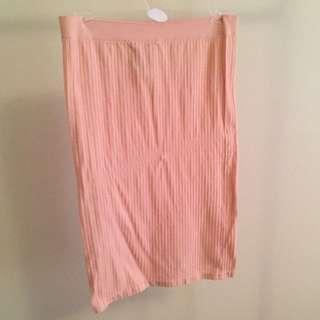 Ribbed Pencil Skirt - Salmon Pink