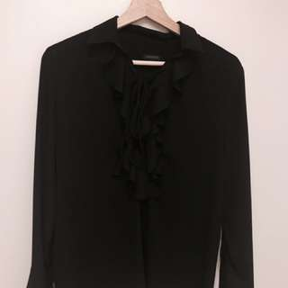Ann Taylor navy draped blouse