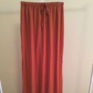 Double-Side Slit Maxi Skirt w/ Drawstring Elasticize Waistband
