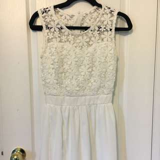 Semi Sheer Floral White Dress