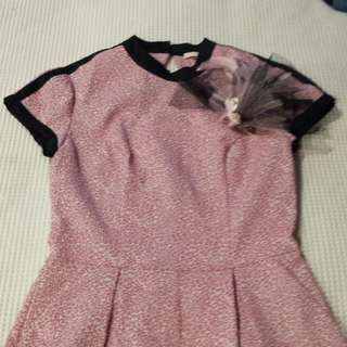 Pink Leopard Playsuit With Fasinator