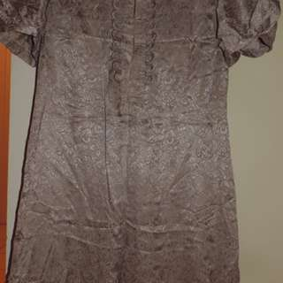 Basque Metallic Silver Dress Beaded Detailed Size 12