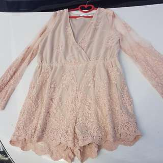 Pink Lace Playsuit S12