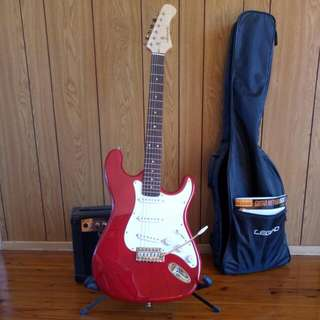 Brand New Hardly Used Legend  Guitar Premium Edition Bright Red See Description For All Inclusions