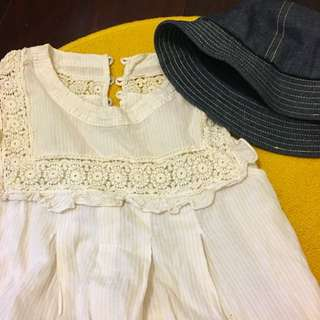 清新 白色蕾絲無袖上衣 #一百元上衣