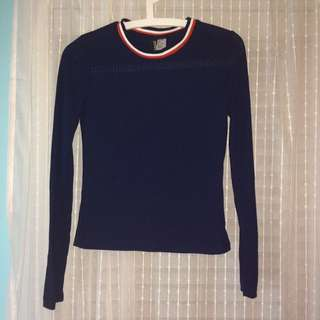 H&M Navy Crop Top with Striped Collar