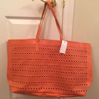 Faux Leather Perforated Tote