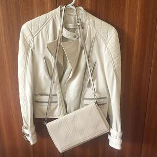 leather jacket + bag
