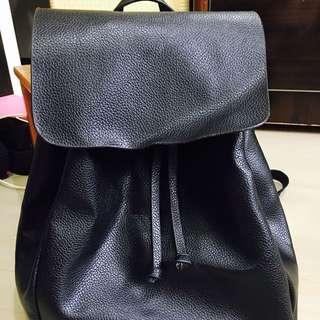 韓國truda Moda 黑色荔枝皮革後背包