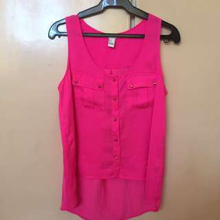 Neon Pink Long-back Top (F21)