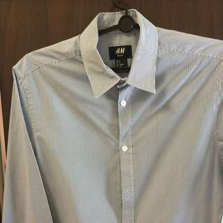 H&M Blue-white Stripes/grey-white Stripes Long Sleeves Shirt / Tee / Formal Wear - S Size