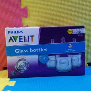 PHILIPS AVENT NATURAL GLASS BOTTLES  4OZ * 3PCS [美國製造][MADE IN USA][全新][BRAND NEW]