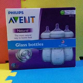 PHILIPS AVENT NATURAL GLASS BOTTLES  8OZ * 3PCS [美國製造][MADE IN USA][全新][BRAND NEW]