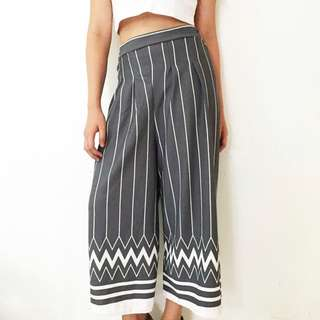 Gray Printed Wide Leg Culottes