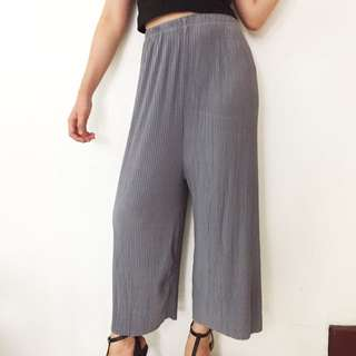 Gray Electric Wide Leg Culottes