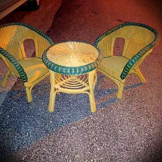 Childs Wicker Table and Chairs Set