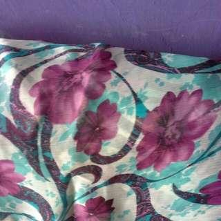 Pashmina Scarf Flowery Purple Blue
