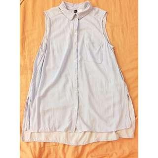 H&M 無袖襯衫 橫條