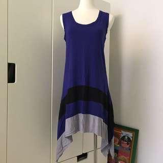 [二手] 撞色側長造型拼接背心裙#一百元上衣