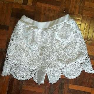 White Lace Shorts #JomBundleLah