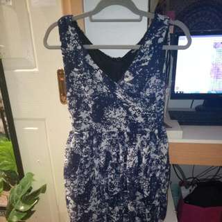 A Short Navy Blue With White Splatters Dress