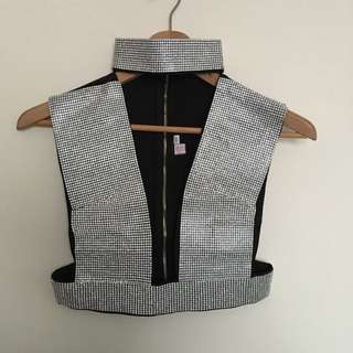 One Honey Boutique Diamanté Diamonds Deep V Neck Sleeveless Crop Top