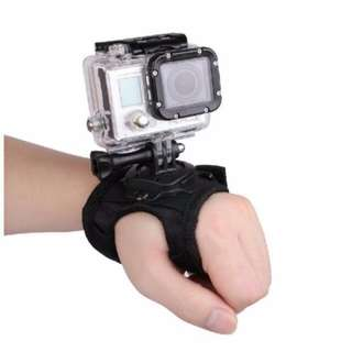 Hand Palm Wrist Strap with 360 Rotatable Mount for Action Cameras (GoPro, XiaoYi, SJCAM)