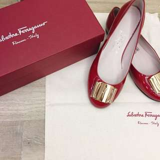 Salvatore Ferragamo Red Patent Leather Ballet Flats