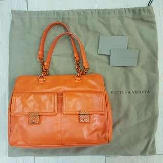 Bottega Veneta Authentic Orange Leather Chain Strap Bag