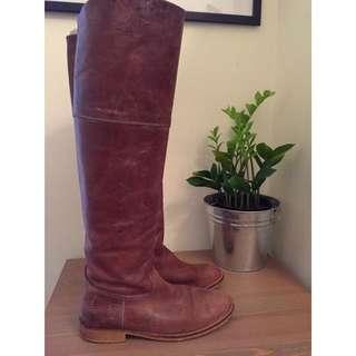 Knee Brown Leather Boots - D.co Copenhagen