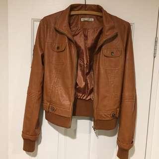 Tan Pleather Jacket Size 10