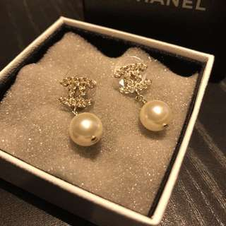 Chanel Crystal CC Logo With Pearl Earrings