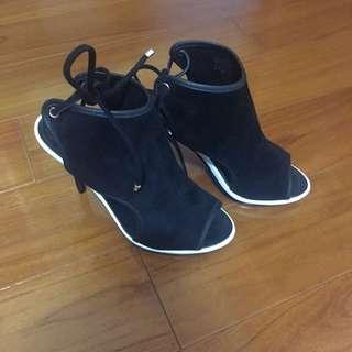 (降售)ALDO 麂皮細跟高跟魚口鞋
