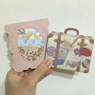 復古文青風雙面行李箱造型便條紙/復古文青風粉色花邊便條紙