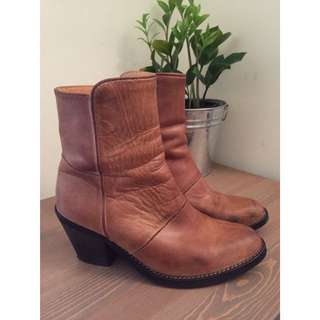 Tan Leather Ankle Boots From D.co Copenhagen
