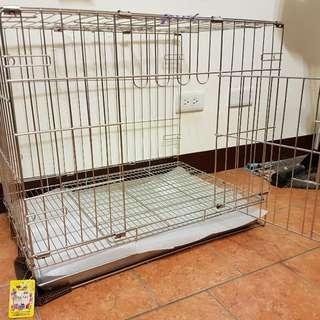 2尺不鏽鋼/不銹鋼(304#級)(雙門正抽底盤活動摺疊式可上開/折疊式)白鐵狗籠/貓籠/兔籠/寵物籠
