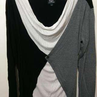 正韓三色拼接外搭罩衫(黑白灰)