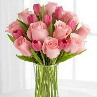 Soft Pink Roses With Tulips Vase