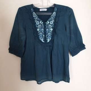 Jade Embroidery Blouse