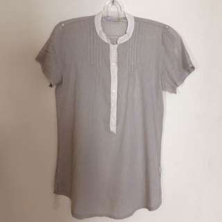 Zara Grey Stripe Blouse