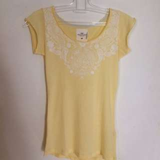 H&M Yellow Printed T Shirt