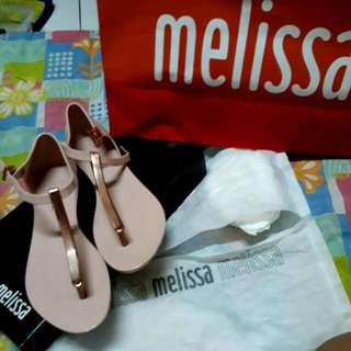 Authentic Melissa Sandals (Nude Pink And Rose Gold)  Size 5 Like New Once Used In Carpet