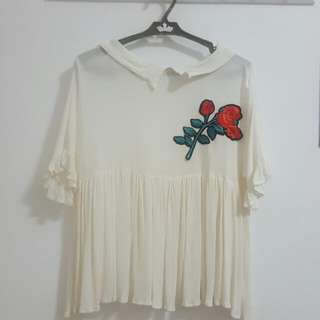 White Top With Rose Detail