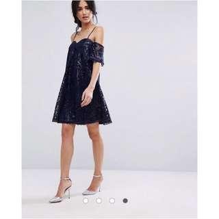 Navy Off-Shoulder Lace Dress