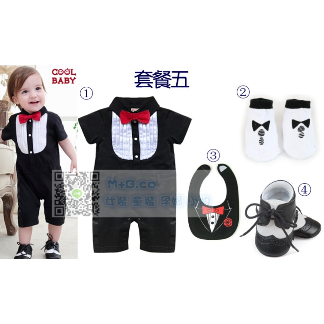 #預購童裝2館0521嬰兒童男寶寶紳士禮服滿月百日周歲禮物送禮-4件套-5