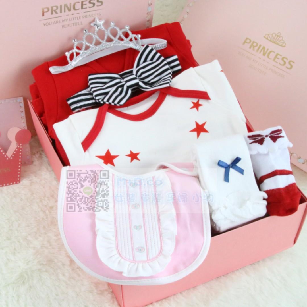 #預購童裝2館0521嬰兒童女寶寶小公主禮服滿月百日周歲禮物送禮-8件套